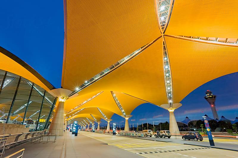 Asia, Malaysia, Kuala Lumpur, Kuala Lumpur International Airport (KLIA), modern exterior architecture by Gavin Hellier for Stocksy United