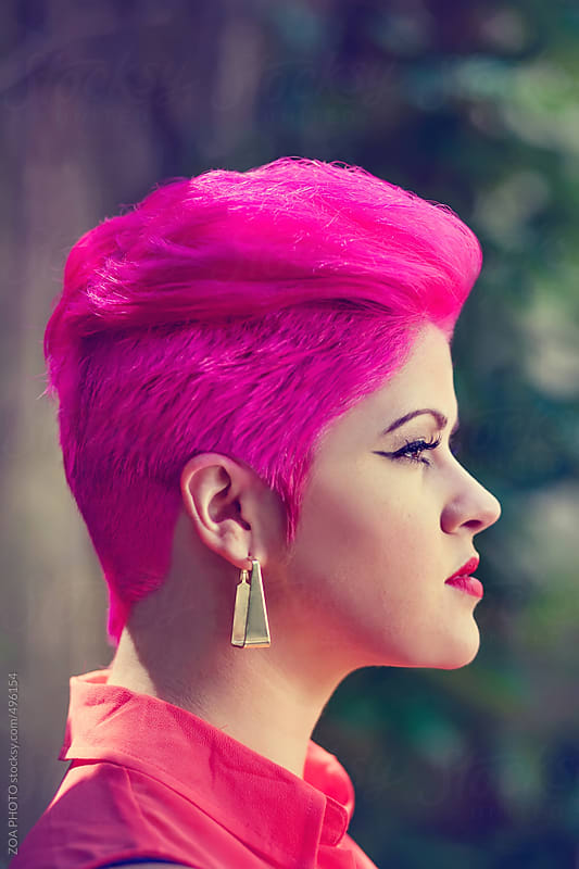 Pink Hair Profile by ZOA PHOTO for Stocksy United
