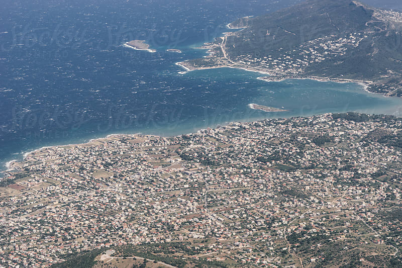 Views of Athens from an airplane window by MaaHoo Studio for Stocksy United