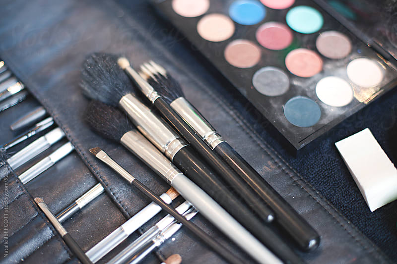 collection of makeup artists tools and brushes by Natalie JEFFCOTT for Stocksy United