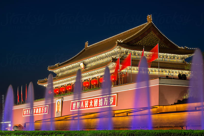Tiananmen in the night by zheng long for Stocksy United