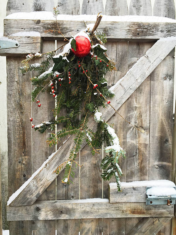 Natural Christmas decoration on a wooden door by Holly Clark for Stocksy United