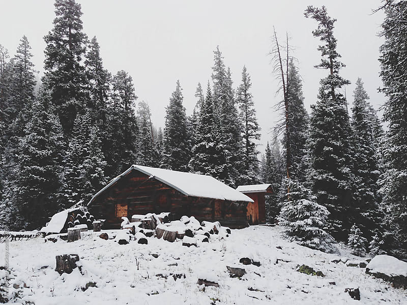 Snowy Mountain Cabin by Kevin Russ for Stocksy United