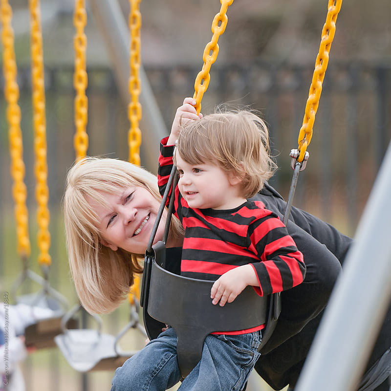 Grandma and Grandson at the park by Cameron Whitman for Stocksy United