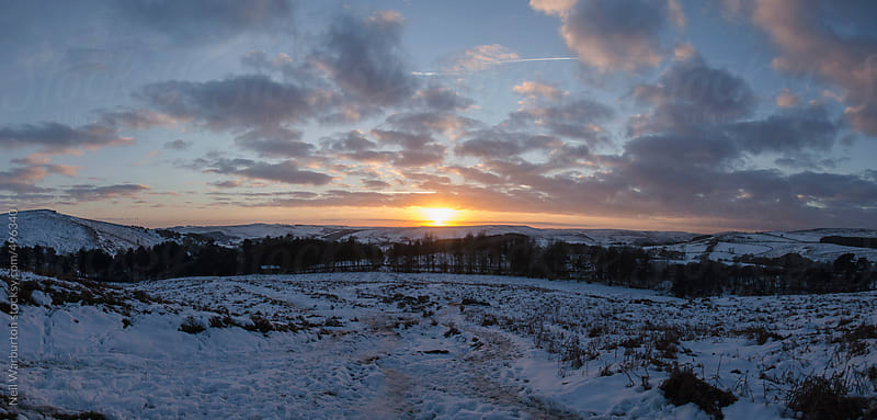 Sunset over English winter landscape by Neil Warburton for Stocksy United