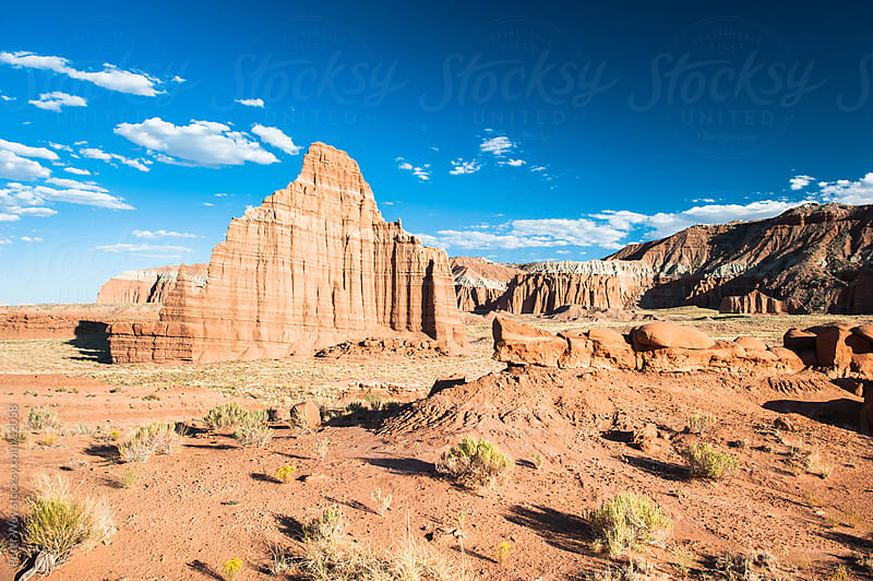 Capitol Reef National Park: Temple of the sun in Cathedral Valley by Peter Wey for Stocksy United