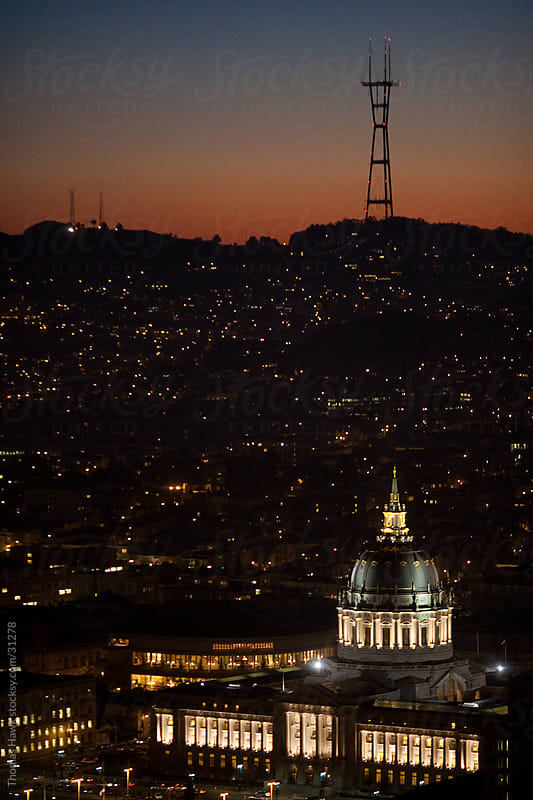 Sutro Tower and City Hall at Sunset, San Francisco, CA by Thomas Hawk for Stocksy United