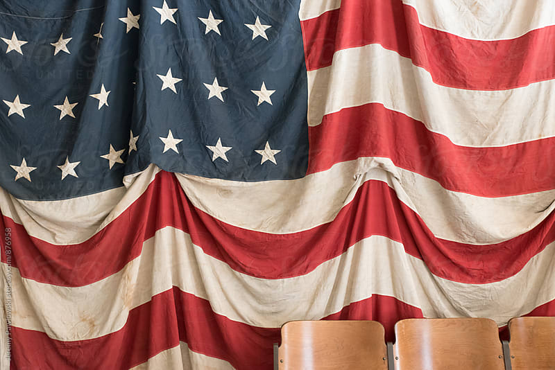 Large vintage American flag closeup.  by Jeremy Pawlowski for Stocksy United