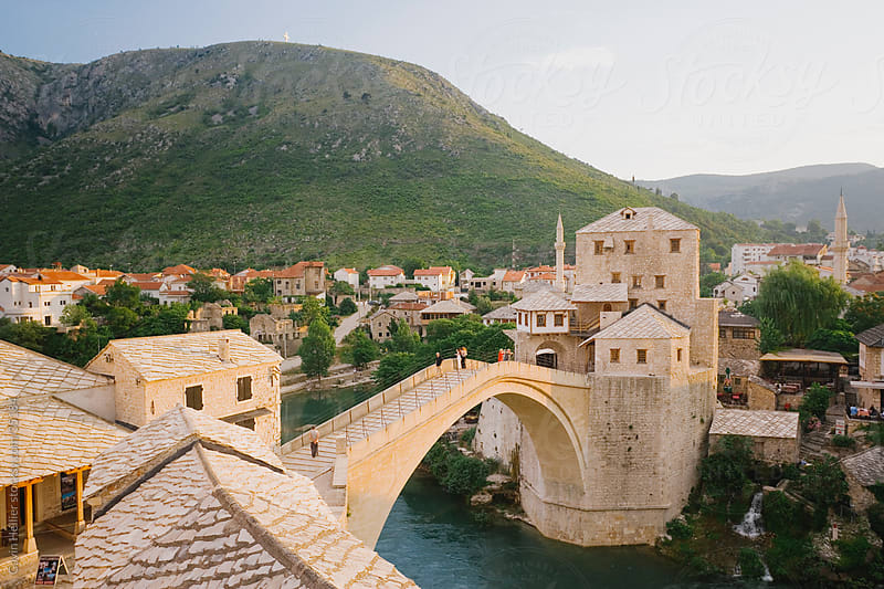 Eastern Europe, Balkans, Bosnia and Herzegovina, Herzegovina, Mostar, The famous 'Old Bridge' of Mostar built in 1566 was destroyed in 1993, the 'New Old Bridge' as it is known was completed in 2004 by Gavin Hellier for Stocksy United