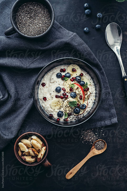 Food: Vegan Breakfast, Soygurt with Quinoa Pops and fruits by Ina Peters for Stocksy United