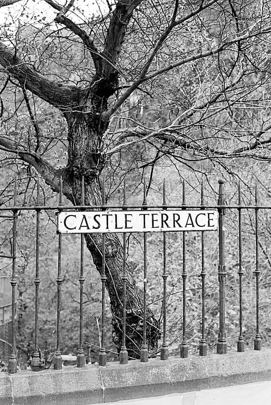 Castle Terrace sign at Edinburgh Castle by Joey Pasco for Stocksy United