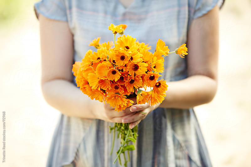 Woman holding calendula flowers for aromatherapy  by Trinette Reed for Stocksy United