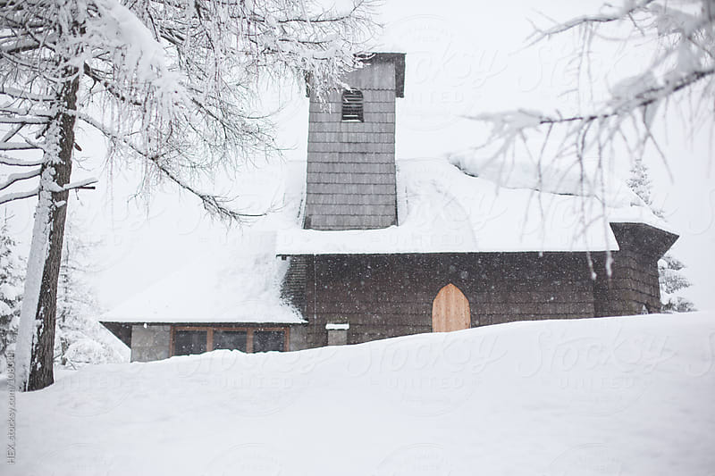 Church in Winter Landscape by HEX. for Stocksy United