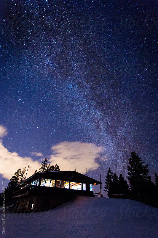 Milky  Way Rising over a ski lodge by Christian Tisdale for Stocksy United