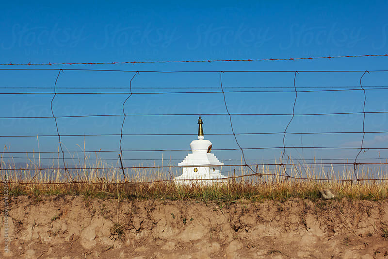 White Pagoda in Tibetan Plateau by zheng long for Stocksy United