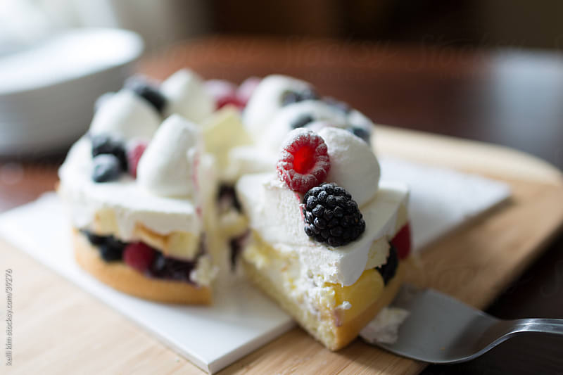 Sweet Dessert Cake With Fresh Berries And Cream by Kelli Seeger Kim for Stocksy United