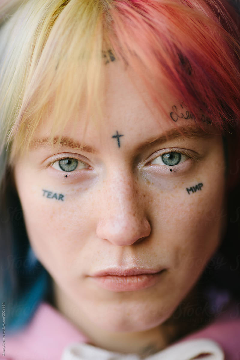 Young Woman With Tattoo On Her Face Stocksy United