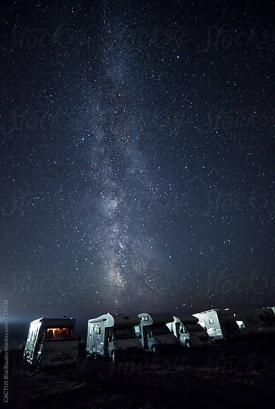 A tent on the lake beach under the milky way by CACTUS Blai Baules for Stocksy United
