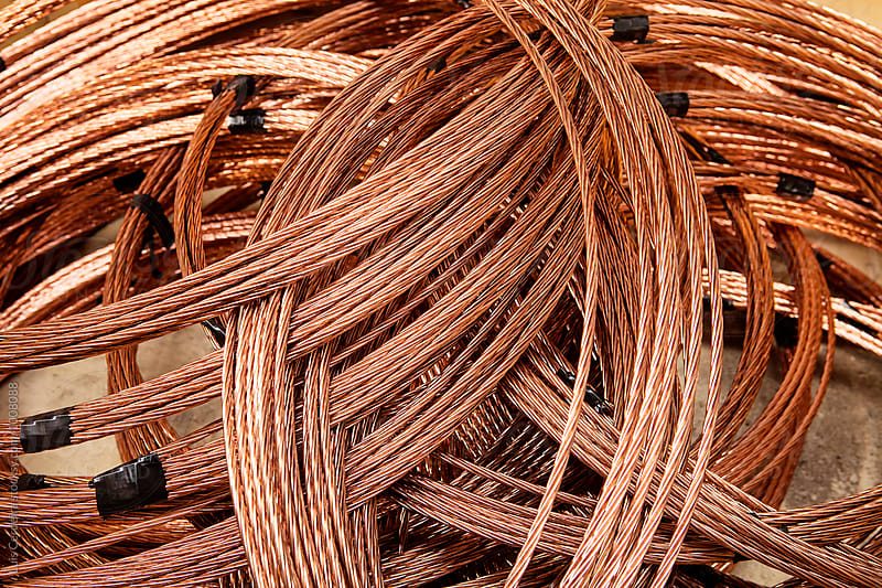 Copper cable roll by Luis Cerdeira for Stocksy United