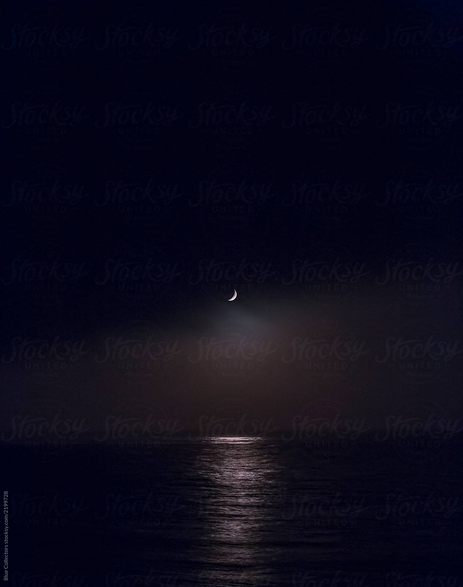 Moon over the sea at night by Blue Collectors - Stocksy United
