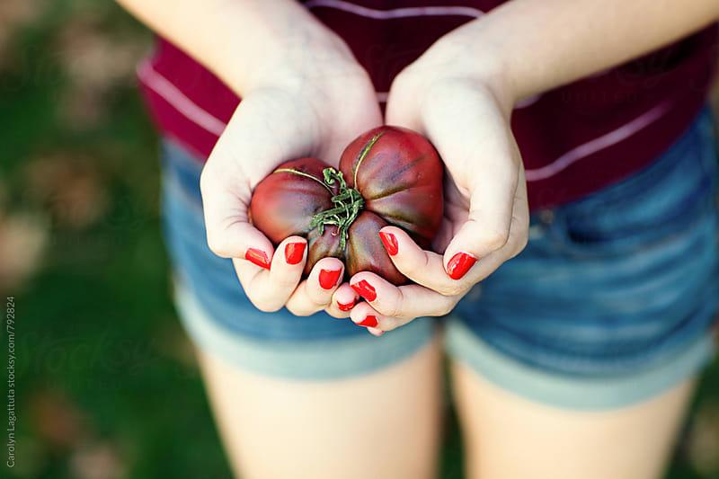 Girl holding a heart shaped heirloom tomato by Carolyn Lagattuta for Stocksy United