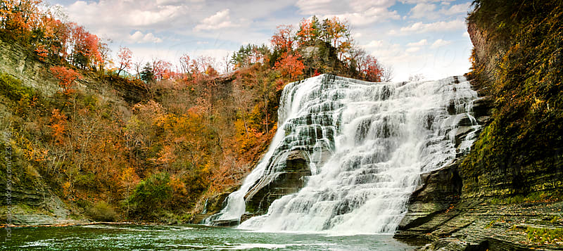 Ithaca falls New York in the fall by Tod Kapke for Stocksy United