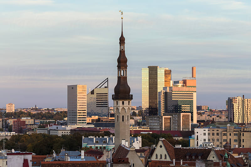 Tallinn, Estonia - City Skyline with the Old Town Hall by Tom Uhlenberg for Stocksy United