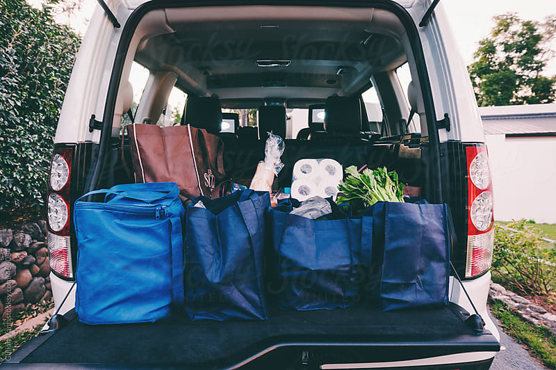 groceries in the back of a car in reusable shopping bags by Gillian Vann for Stocksy United
