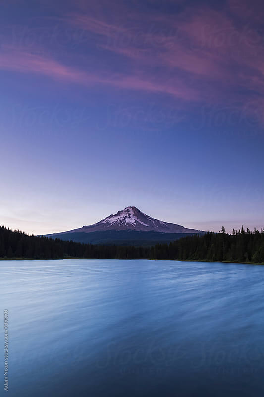Mount Hood and Trillium Lake at blue hour by Adam Nixon for Stocksy United