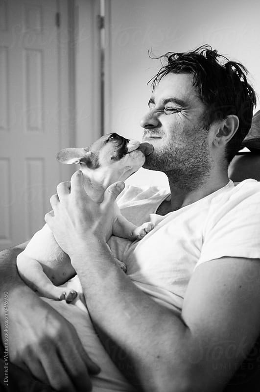 French Bulldog puppy giving kisses to man by J Danielle Wehunt for Stocksy United