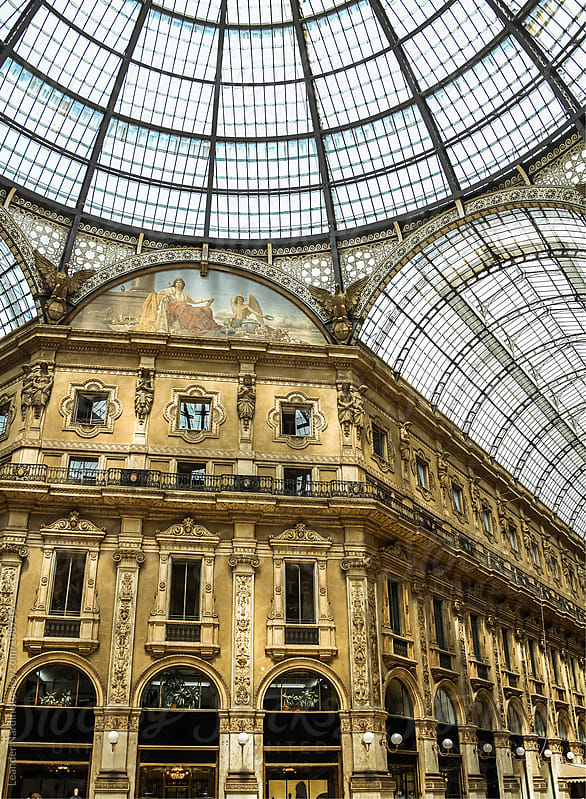 Ancient shopping mall in milan by Leander Nardin for Stocksy United