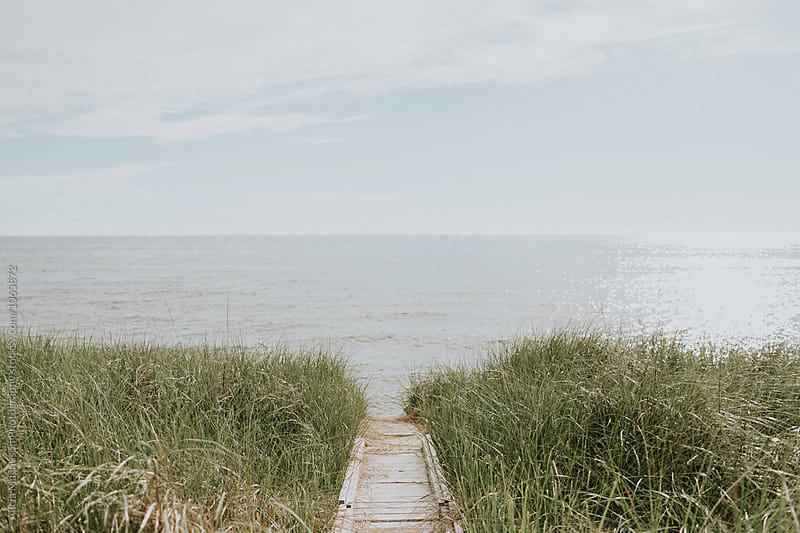 Boardwalk to Lake Michigan by Alicia Magnuson Photography for Stocksy United