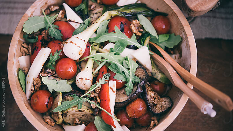 Healthy salad with grilled vedetables by Adrian Cotiga for Stocksy United