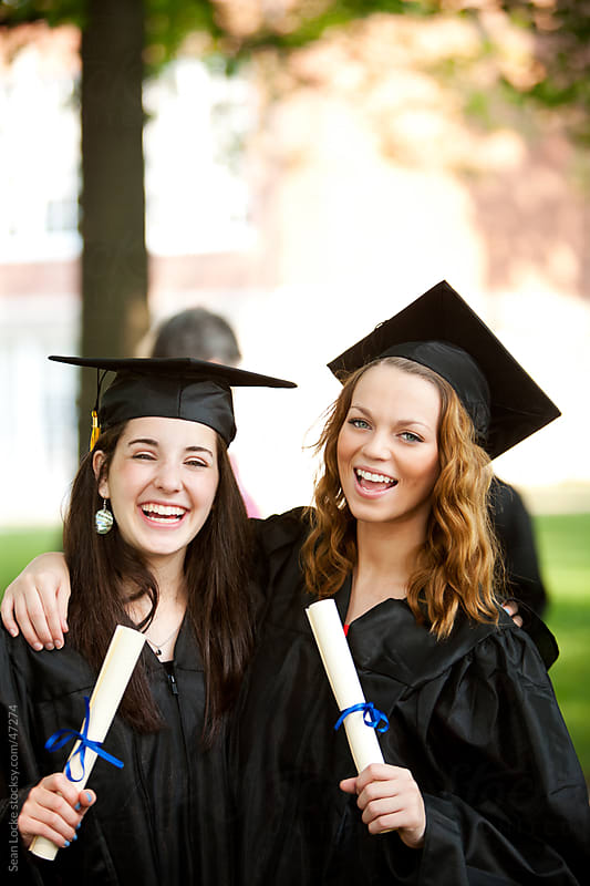 Graduation: Two Friends Together After Graduation by Sean Locke for Stocksy United