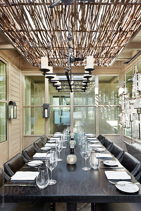 Private dining space at restaurant  by Trinette Reed for Stocksy United