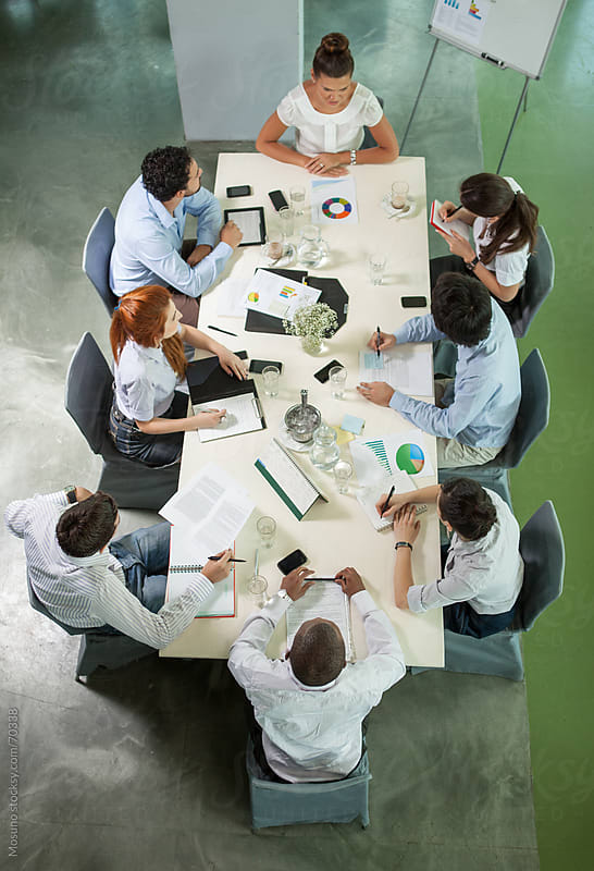 Overhead Shot of People in a Business Meeting by Mosuno for Stocksy United