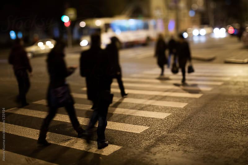 tilt-shift street at night by Alexey Kuzma for Stocksy United