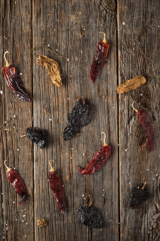 Mexican Food Ingredients: Ancho, Chipotle, Guarjillo, Chile Peppers by Studio Six for Stocksy United