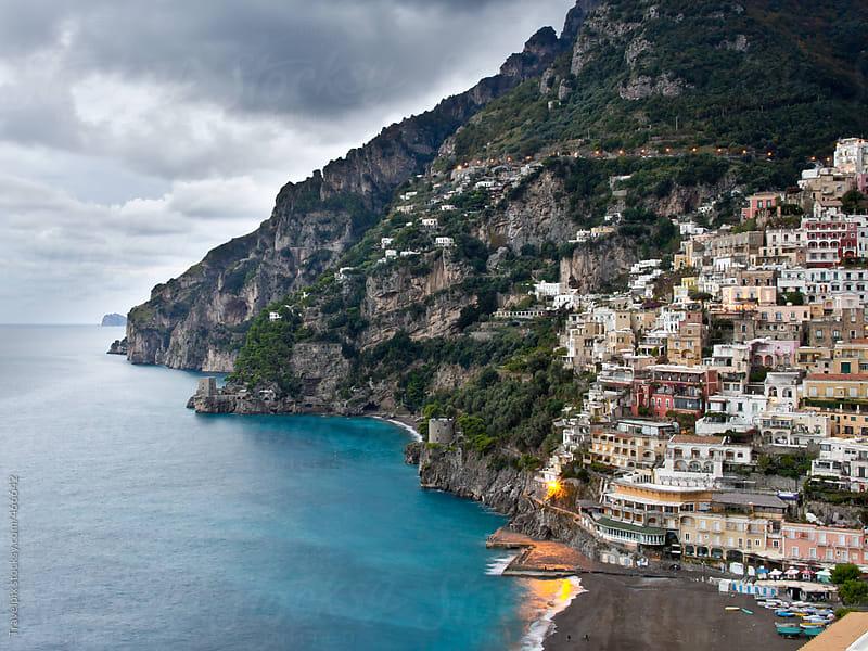 Sunset at Positano. Amalfi Coast. Italy by Travelpix for Stocksy United