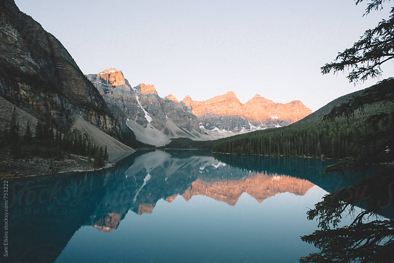 Moraine Lake Sunrise by Sam Elkins for Stocksy United