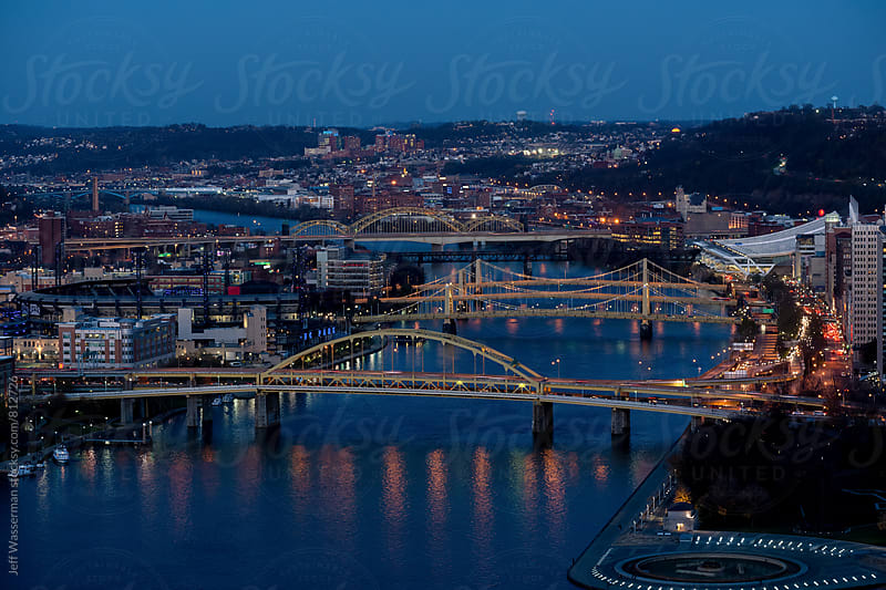 Pittsburgh Pennsylvania Downtown Skyline Bridges by Jeff Wasserman for Stocksy United