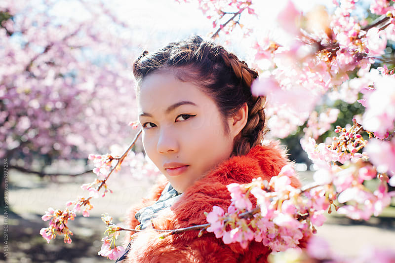 Portrait of Pretty Young Japanese Woman Standing Next to Blossoming Sakura Tree by Julien L. Balmer for Stocksy United
