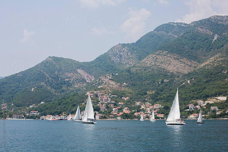 Sailboats on seawater by Maja Topcagic for Stocksy United