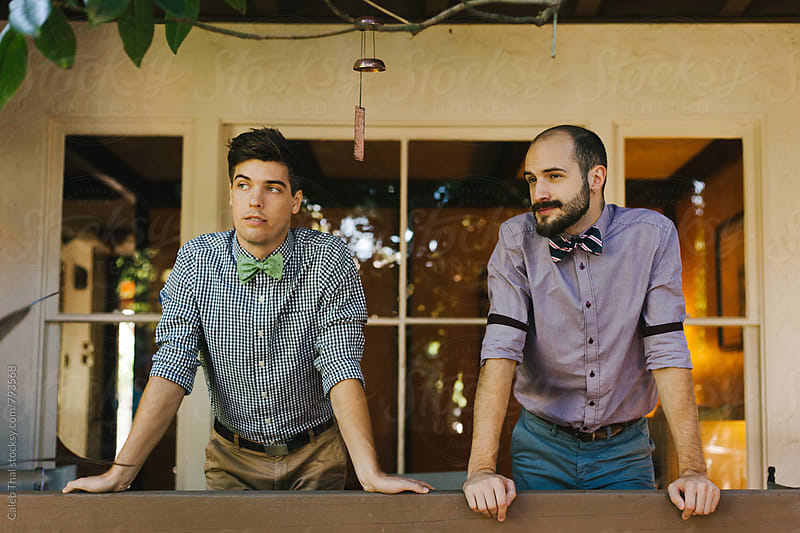 Two Men Wearing Bowties by Caleb Thal for Stocksy United