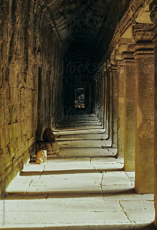 The corridor of the temple. Angkor Wat. by Yury Goryanoy for Stocksy United