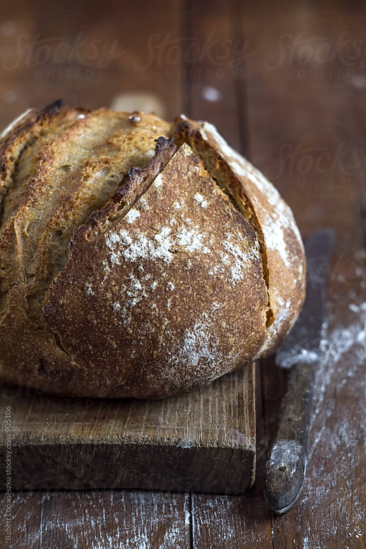 Sourdough bread by Babett Lupaneszku for Stocksy United