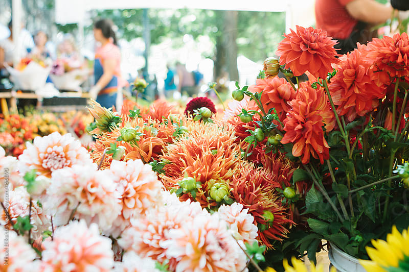 Fresh flowers for sale at a farmers market with people in the background selling them by Mihael Blikshteyn for Stocksy United