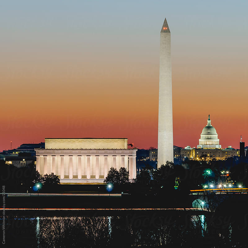 Washington DC During Civil Twilight  by Cameron Whitman for Stocksy United