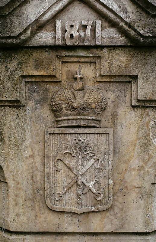 St. Petersburg Coat of arms in stone by Yury Goryanoy for Stocksy United