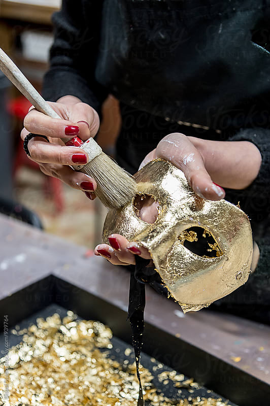 Woman making venetian mask on a workshop by Bisual Studio for Stocksy United